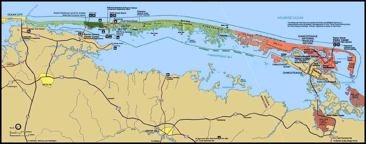 Map Of Assateague Island Assateague Island Map